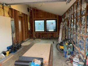 Double windows installed in the Garage soon to become Game Room, sea ranch abalone bay, remodel, renovation,