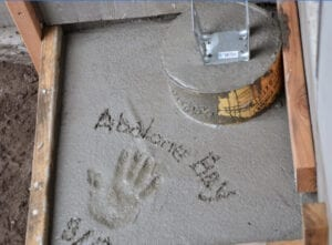 sea ranch abalone bay name signed in cement with hand print