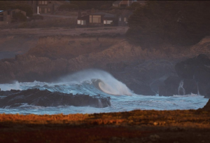 Large ocean swell, wave flowing into Sea Ranch shore