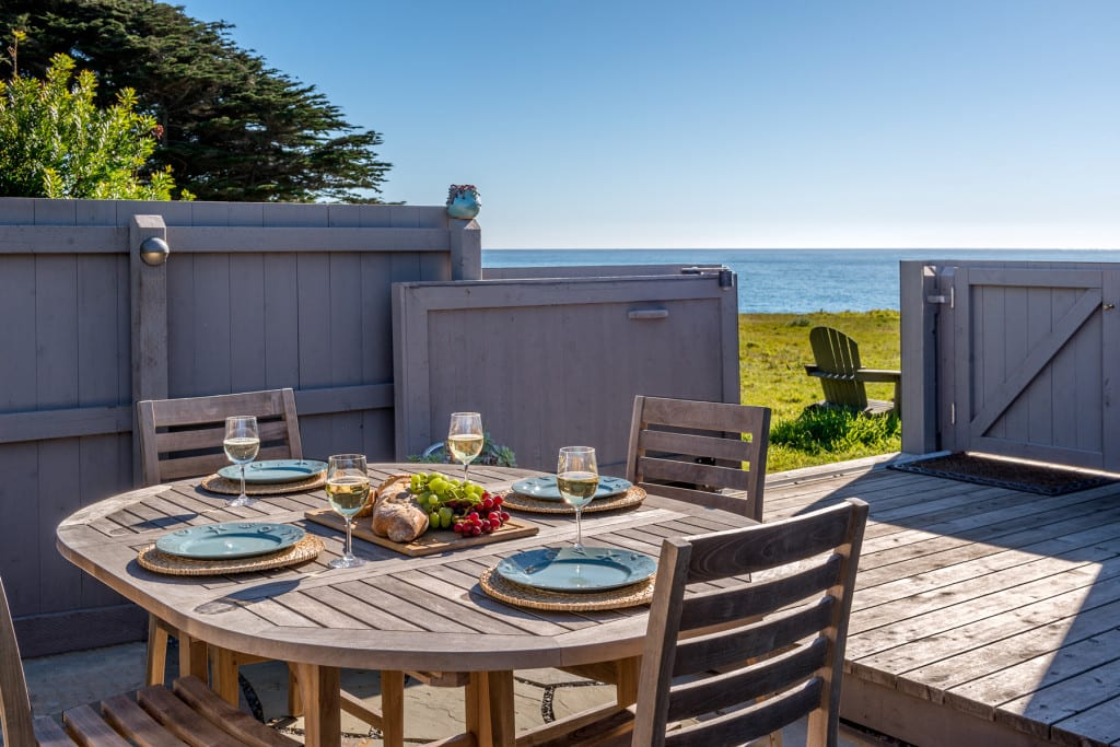 private courtyard, courtyard, Abalone Bay, Sea Ranch, vacation rental, oceanfront,