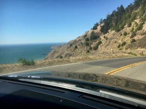 very curvy road north to Sea Ranch along the California coastal cliffs