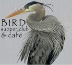 Bird Supper Club and Cafe in Point Arena poster with blue heron