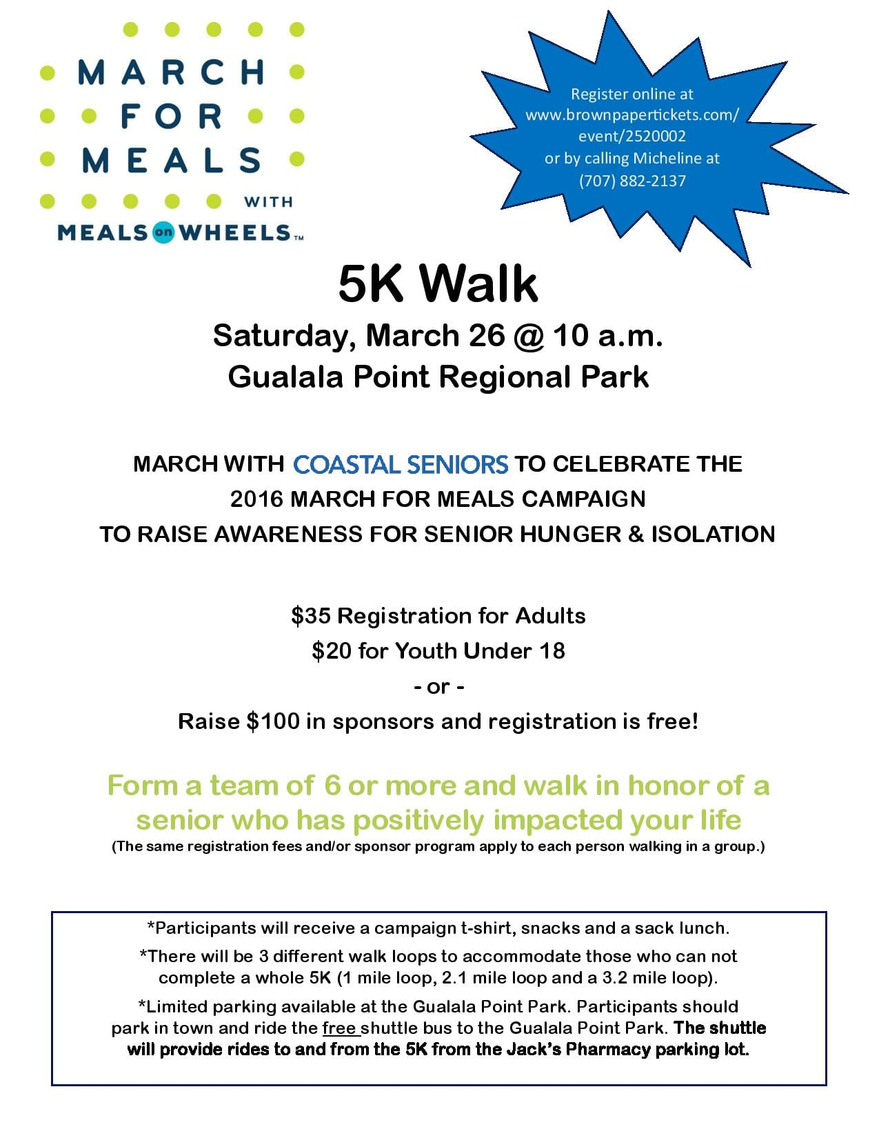 Abalone Bay Supports Mendonoma Coastal Seniors' March For Meals