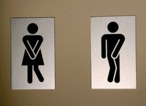 restroom signs, female and male indicating the need to pee