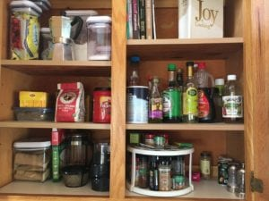 spices, baking supplies, cook books