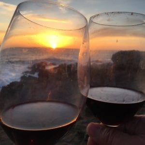 walking Sea Ranch trails,Sea Ranch Trails, wine, toast to sunset