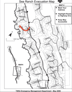 emergency information, Evacuation route for Abalone Bay.