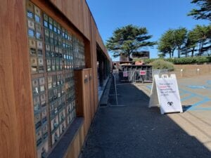 New Mailboxes at The Sea Ranch Lodge and sign announcing reopening 2020