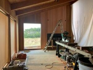 Living room converted to workshop