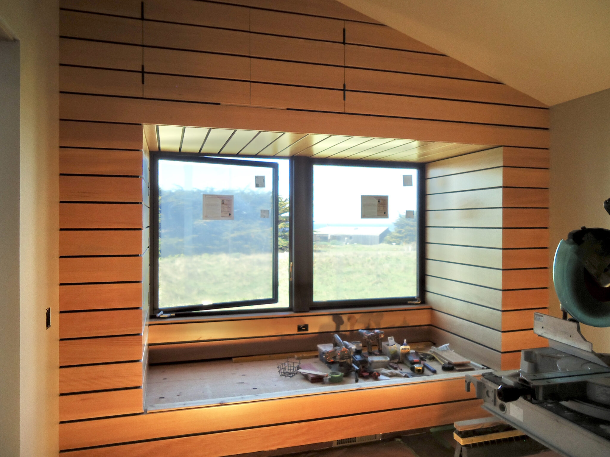 Feature wall with bench seat opened window