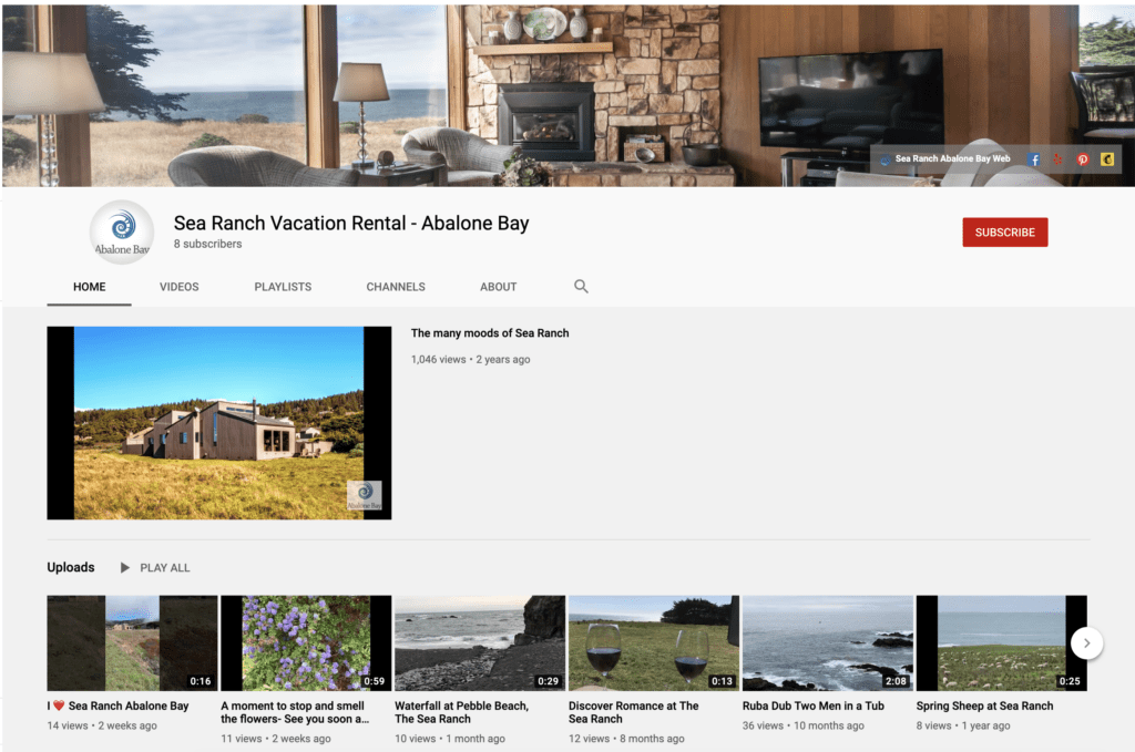 Youtube channel page for sea ranch abalone bay