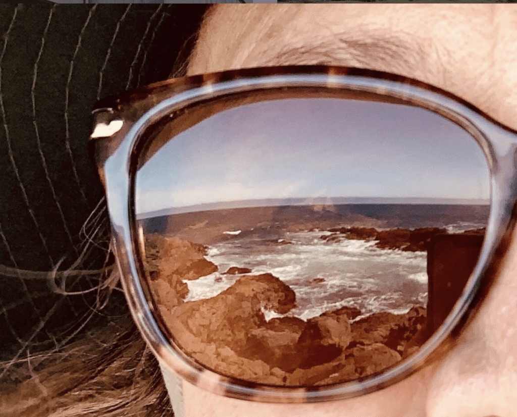 views of Sea Ranch coast reflected in sunglasses