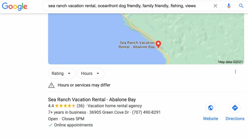 Google map for sea ranch abalone bay