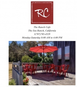 Ranch Cafe with red table and chairs on the deck