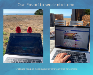 two photos of person typing on computer with ocean in the background