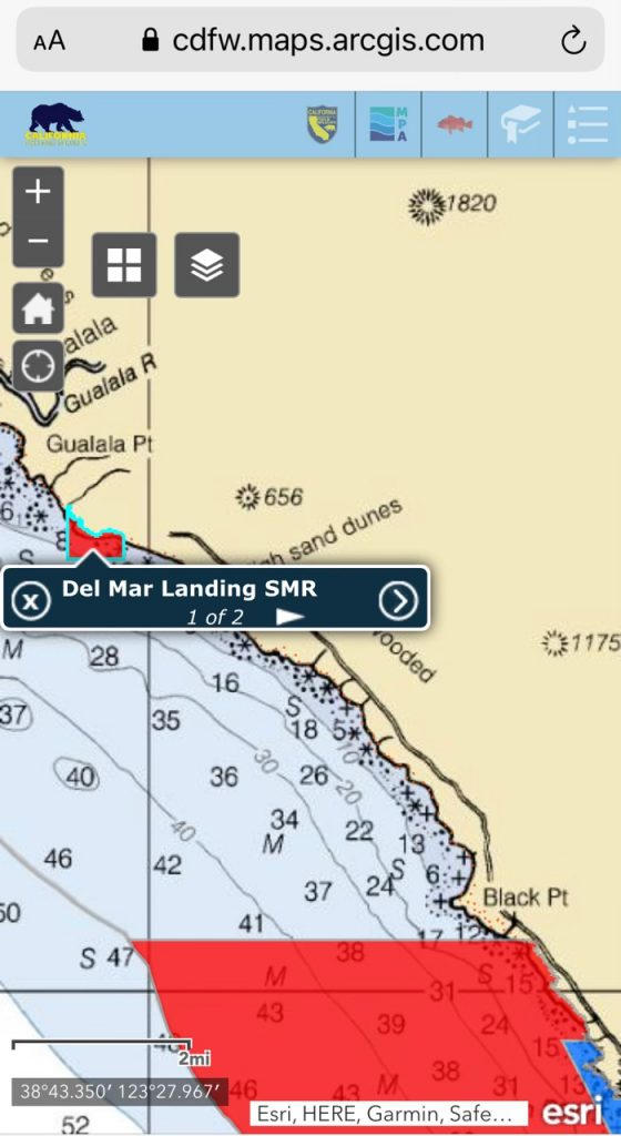 Map of Sea Ranch fishing area taken from Ocean Sport Fishing Interactive Web Map
