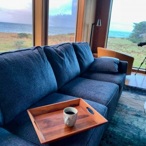 coffee cup on tray on sofa with ocean views from windows