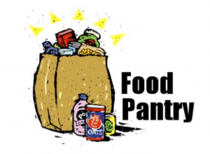 drawing of food in grocery bag with words food pantry