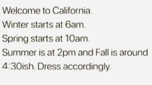 Welcome to California -timetable for all seasons in one day