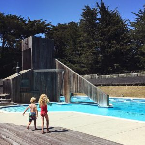 Ohlson recreation center, two children at the pool